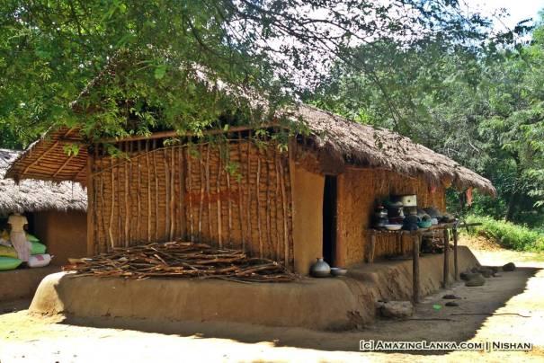 A clay house at the Dambana Vaddah Village