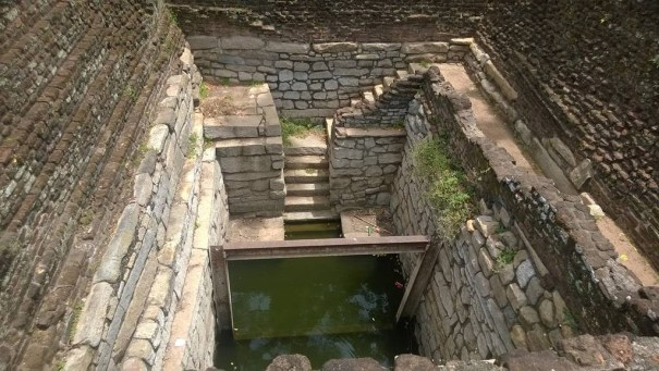 The well with steps at the Mahapali Alms Hall in Anuradhapura