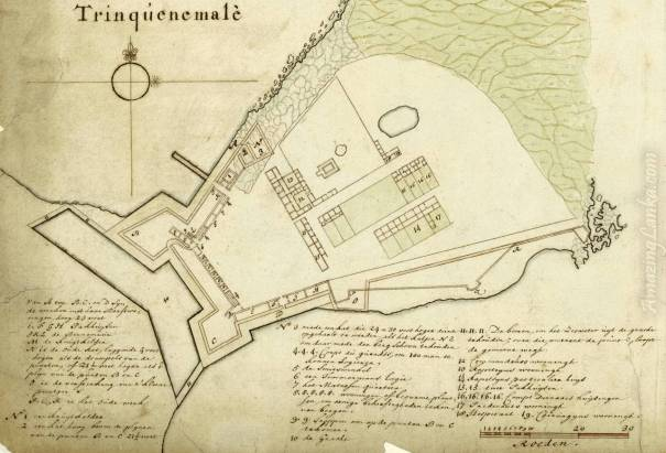 A plan of the Dutch Fort of Trincomalee, Sri Lanka drawn in 1693 - From the National Archives of Netherlands
