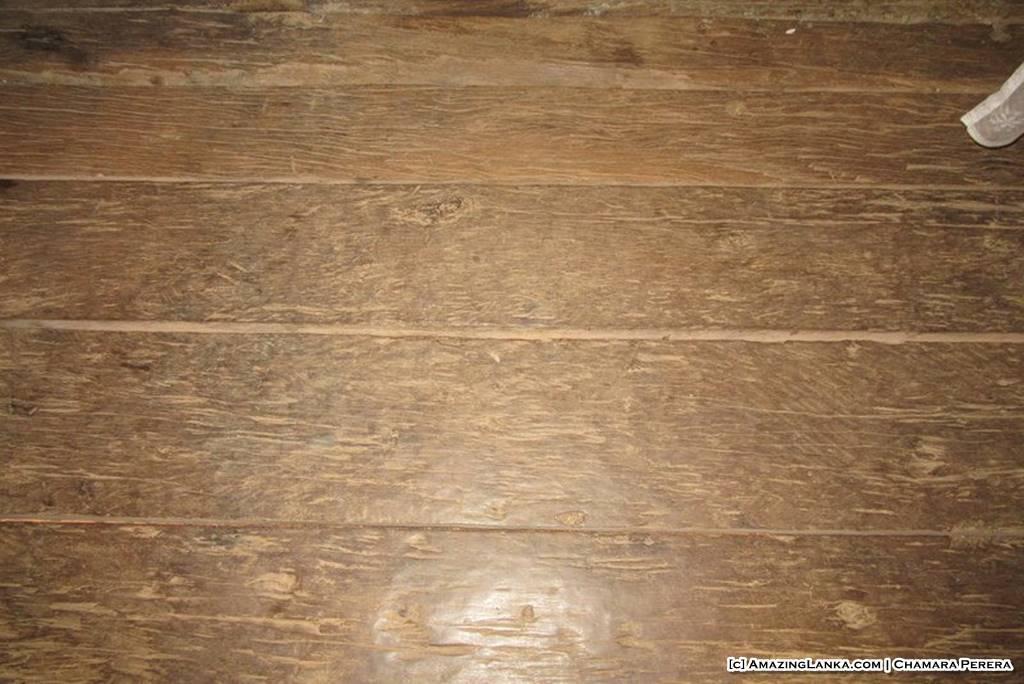 Wooden floor of the Tampita Viharaya at Weragama Rajamaha Viharaya (Diya Bubule Pansala)