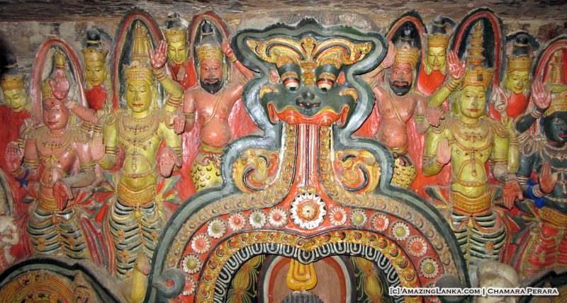 The detailed dragon arch at the Dembawa Purana Tampita Viharya