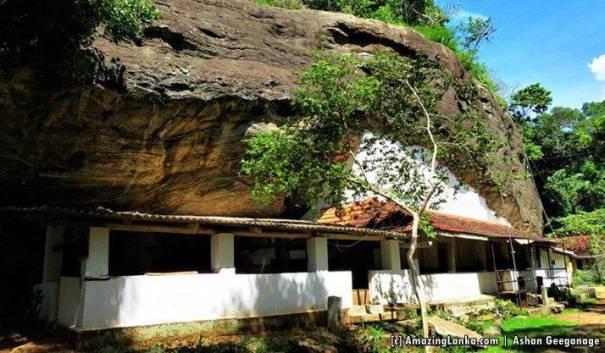 The 300 feet long main cave which contains the image house and the Sangawasa - Buttala Katugahagalge Rajmaha Viharaya