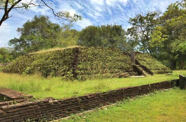 One of the two square stupas in the Abhayagiri Monastery which is hidden from the public eye