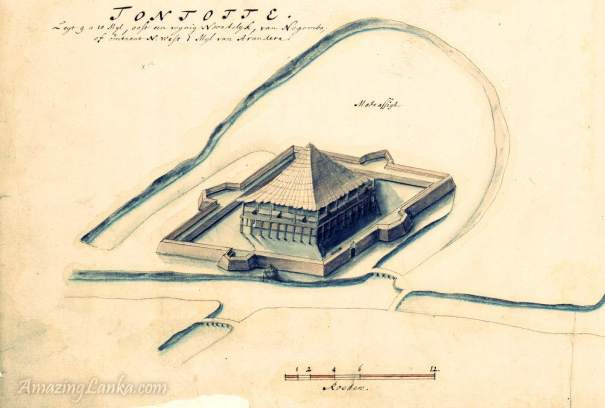 17th century map of Portuguese fort at Menikkadawara identified as Tontotte Fort, According to research this fort was situated near Thunthota in Thummodara on Raja Mawatha from Gampola to Kelaniya from the Dutch National Archives (www.nationaalarchief.nl/)