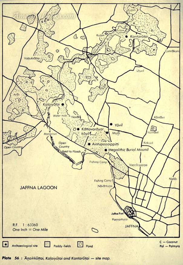 Map of Anaikoddai in Jaffna and archaeologically important places from 'Early settlements in Jaffna : An Archaeological Survey
