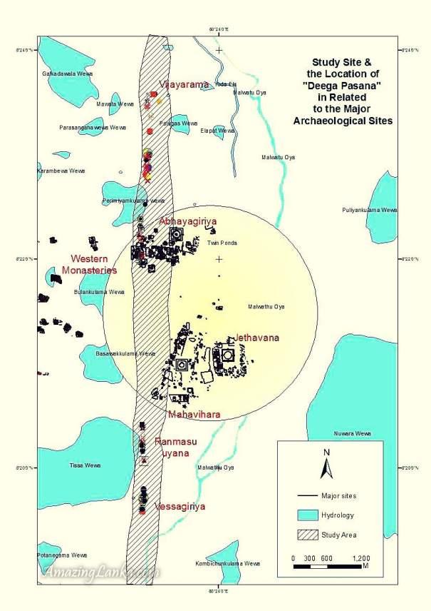 Map of the Deegapashana Rock outcrop spreading across the ancient Anuradhapura Kingdom