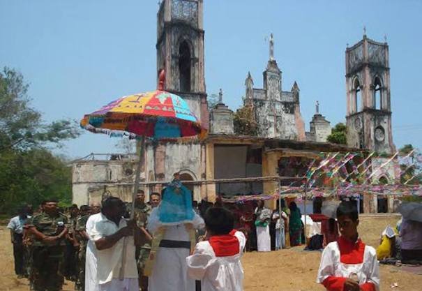 First service held after 12 years in 2010 on the ruins of Portuguese Church of Our Lady of Angels in Myliddy - Jaffna