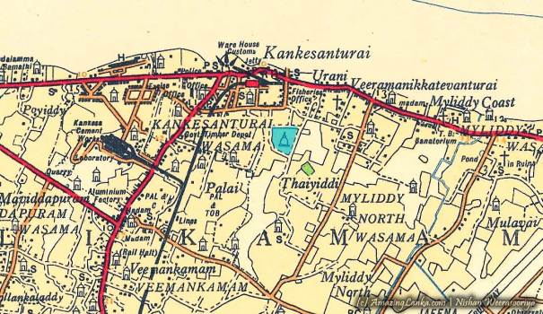 The Survey Department Map of Jaffna, updated in 1959, printed in 1964 clearly showing Tissa Viharaya land with a drawing of a stupa.