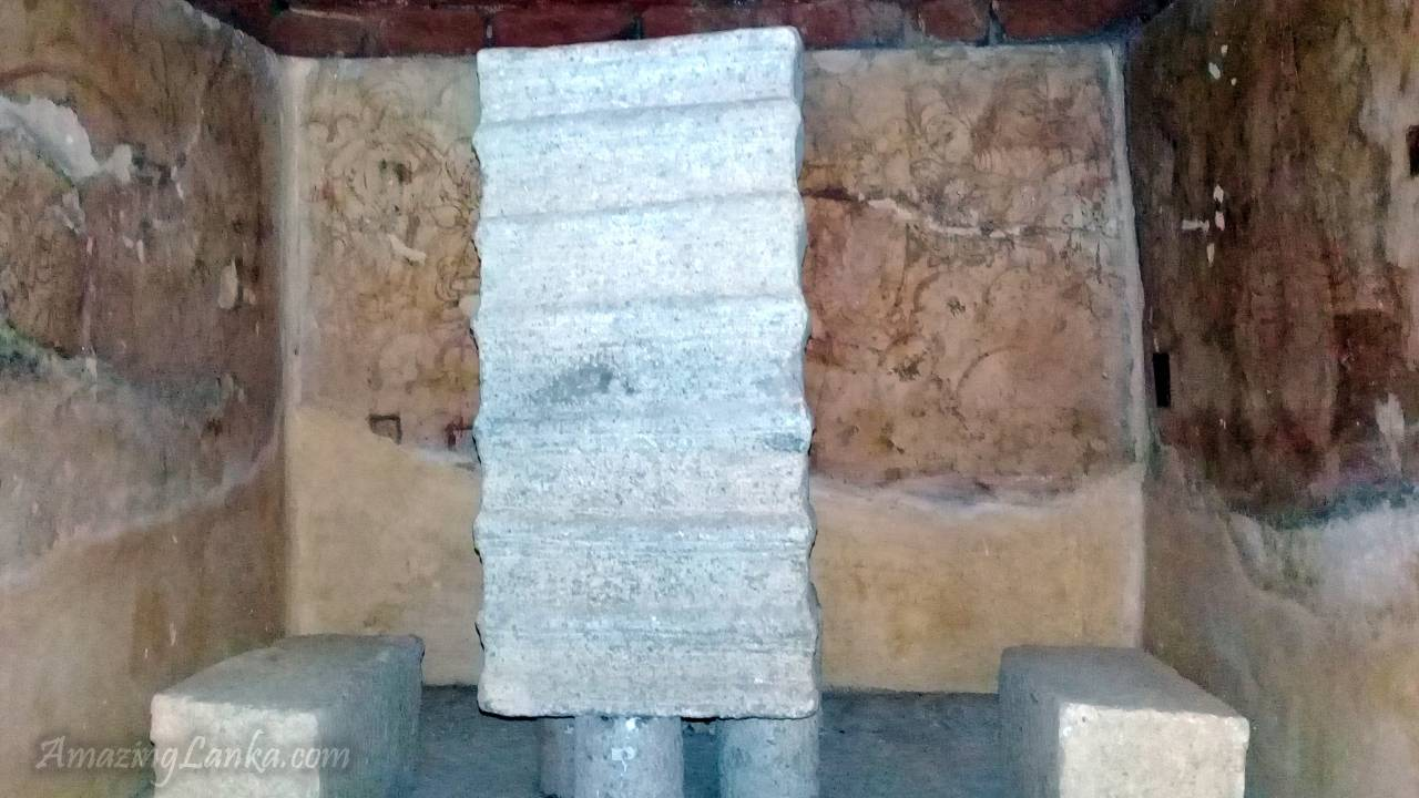 The restored relic chamber of Line art frescos on the inner walls of the relic chamber of Giribanda Seya Stupa of Mihintale (මිහින්තලේ ගිරිභණ්ඩ ස්තූපය) at the Archaeology Museum of Anuradhapura