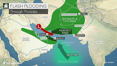 flooding in sultanate of oman and uae during last week due to supercell thunderstorm and heavy rains and more are expected till this weekend