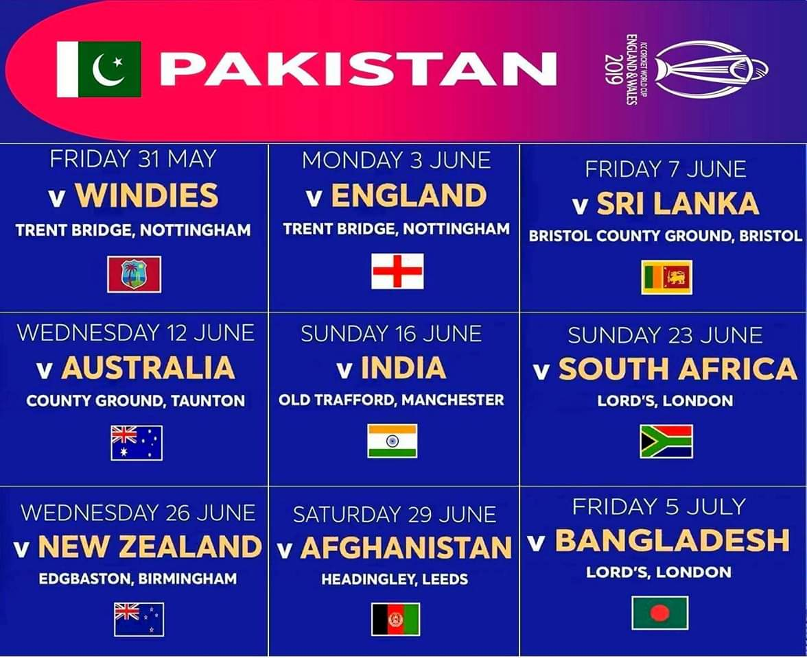 Pakistan tour of india 2019 schedule