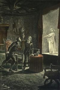 """Ilustración de la novela """"El Castillo de los Cárpatos"""" de Julio Verne."""