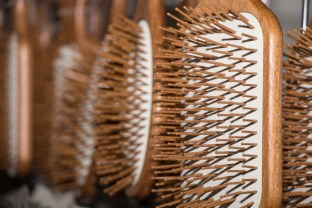 several wood natural big hairbrushes for woman hair