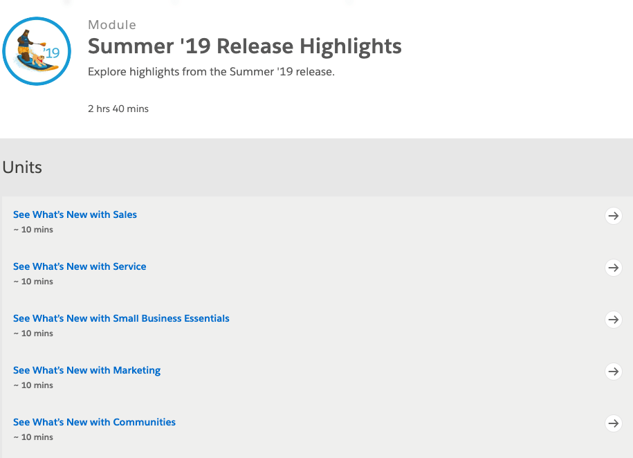 Salesforce Summer 19 Trailhead Module