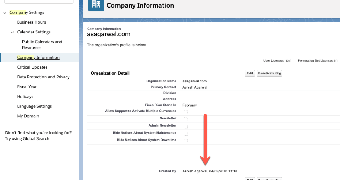 Find when a Salesforce Org was Created?