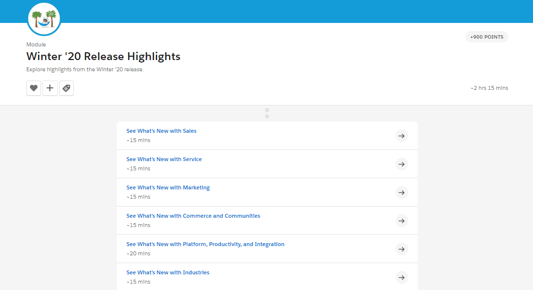 Winter '20 Release Highlights Trailhead module