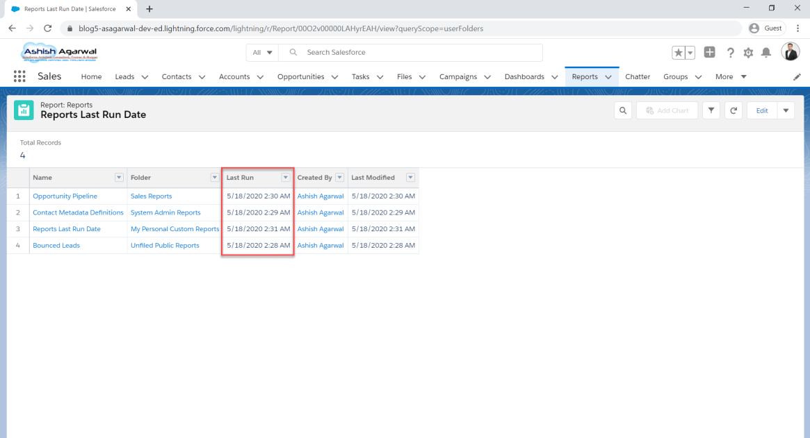 How to Find Out when a Report was Last Run in Salesforce?