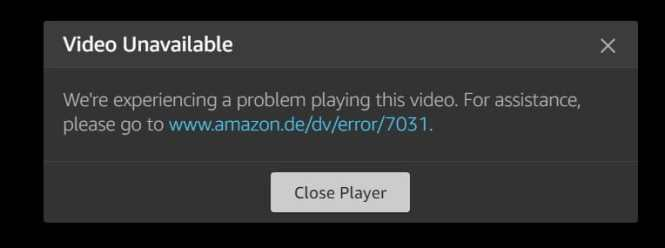 video unavailable amazon de