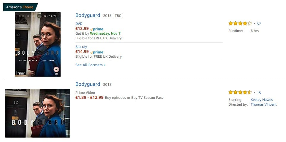 You can watch Bodyguard on Amazon in England, but nowhere else!