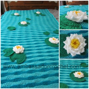 crocheted frog pond, lily pads, water lily