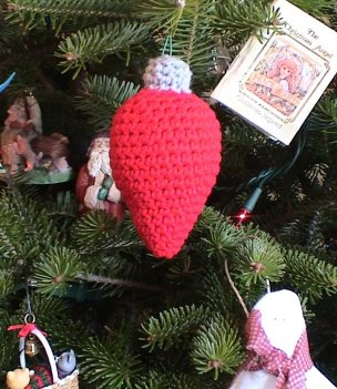 red light bulb ornament