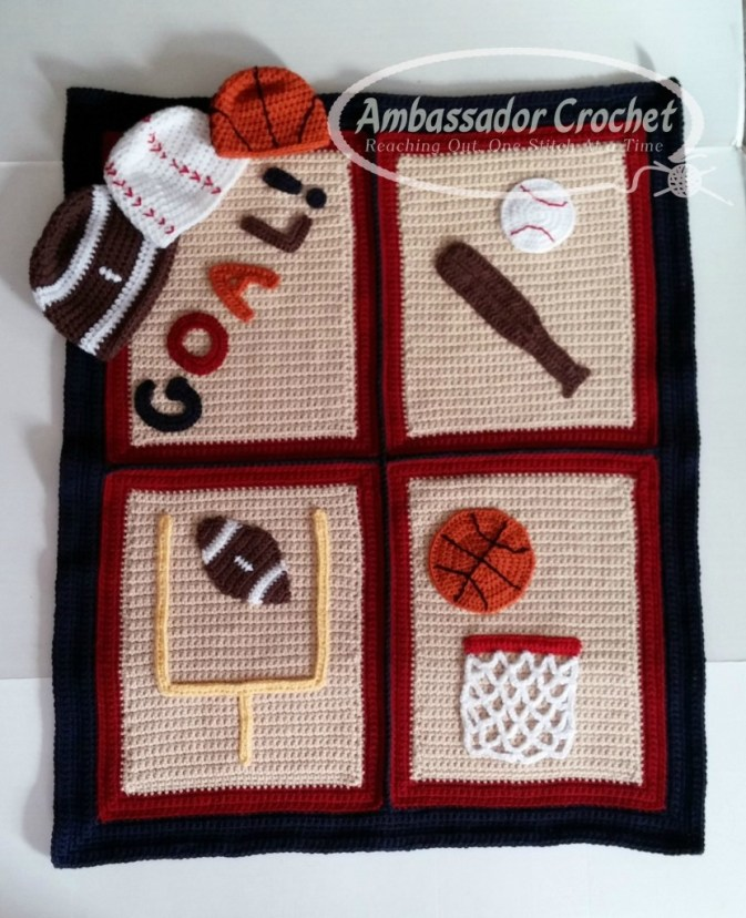 Designing Your Own Crochet Pattern Series - Finding the Perfect Design Ideas - Little Sports Fan afghan & hat set was designed using sports as the theme.