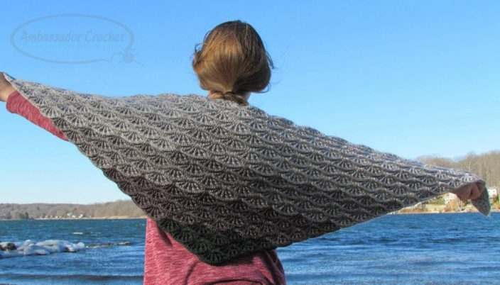 Gray Skies Gradient Shawl - $4.50 crochet pattern by Ambassador Crochet