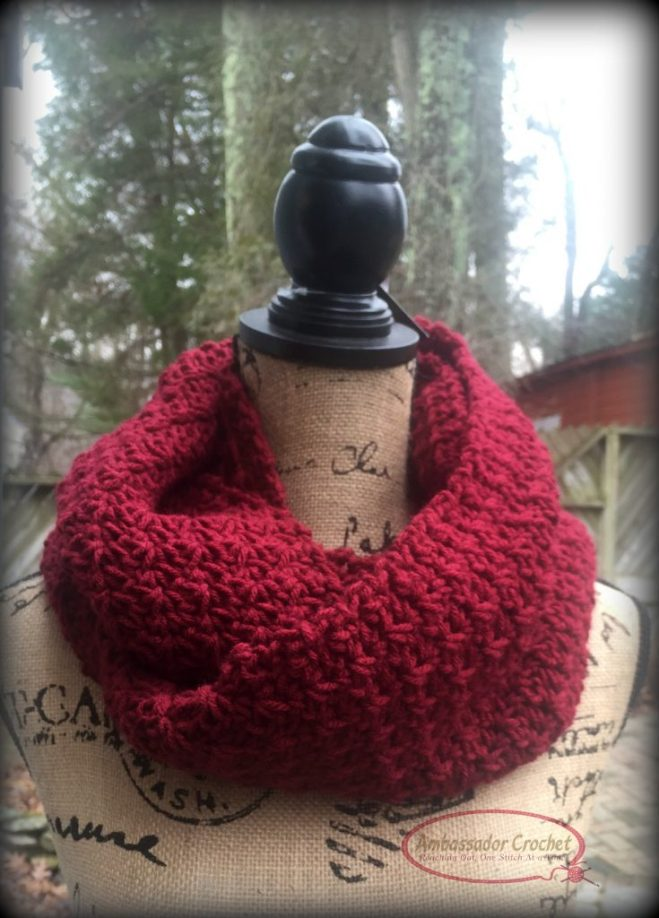 Designing Your Own Crochet Pattern Series - Finding the Perfect Design Ideas - Winter Berries Infinity Scarf designed using yarn as inspiration.