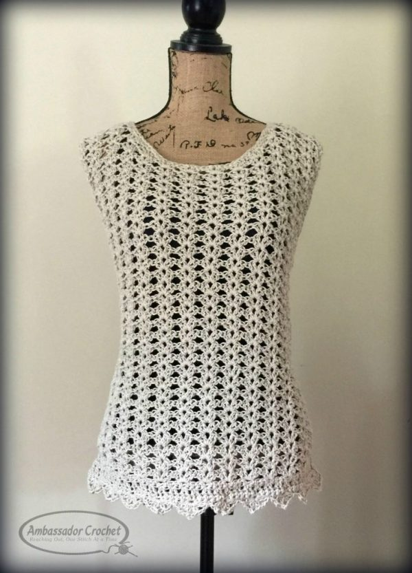 Ava Shell tank - free CAL crochet pattern by Ambassador Crochet. Sizes XS - 5X included in pattern.