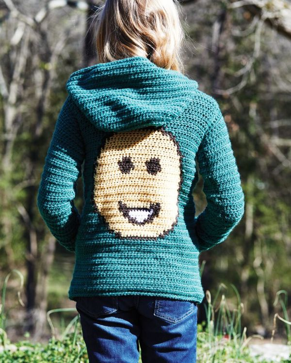 Hoodie from Emoji Crochet - book review by Ambassador Crochet.