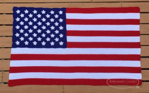American Flag afghan crochet pattern by Ambassador Crochet.