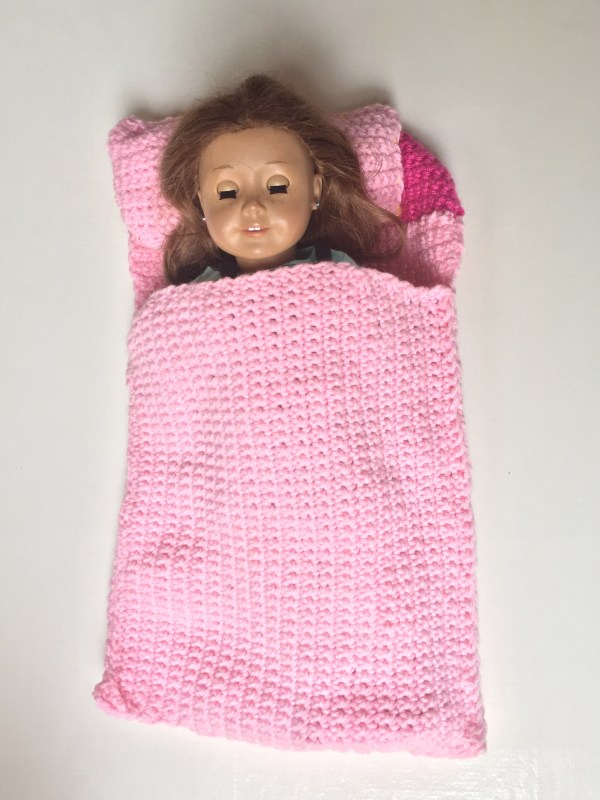 "Free crochet pattern for 18"" Doll Sleeping Bag & Pillow."