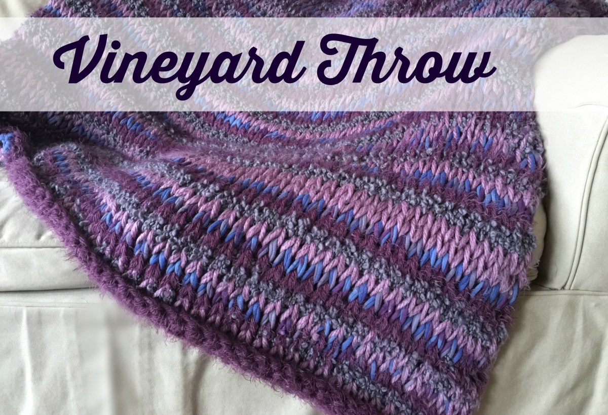 Vineyard Throw - Tunisian crochet pattern. Free beginner afghan pattern using Tunisian knit stitch.