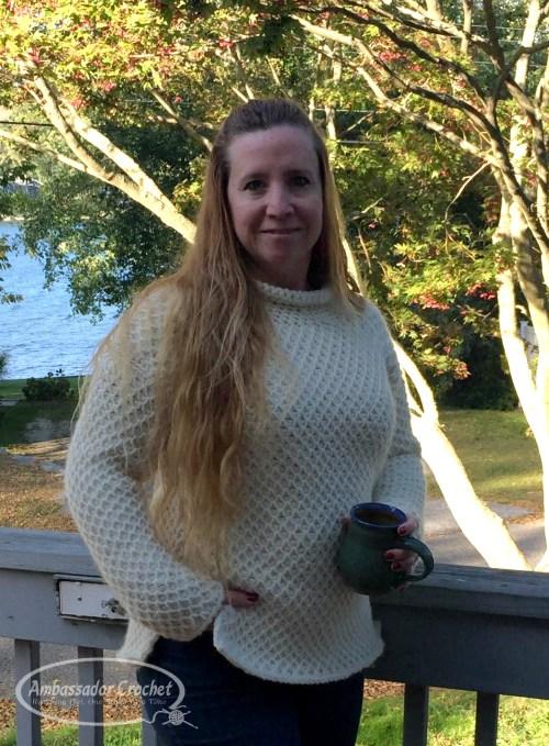 Snowbird Tunisian Sweater crochet pattern by Ambassador Crochet.