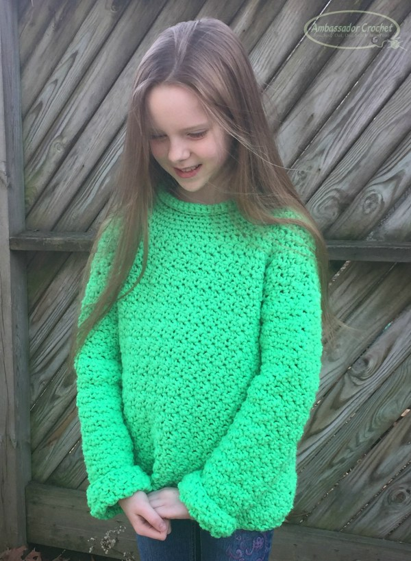 The Wanderer Sweater crochet pattern for kids. by Ambassador Crochet.