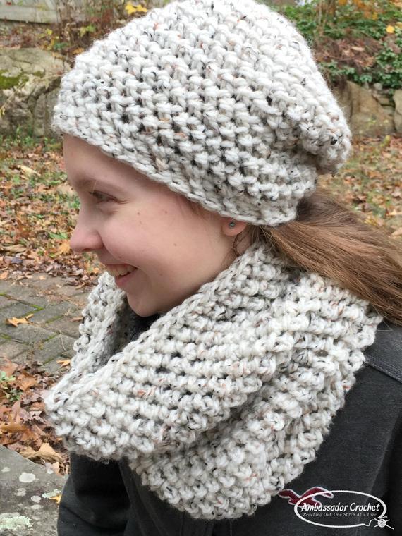 Crochet Pattern Rocky Mountain Hat & Cowl Set PDF 261