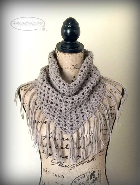 Crochet Pattern Oakley Fringe Cowl PDF 229