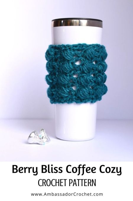 Berry Bliss textured coffee cozy crochet pattern