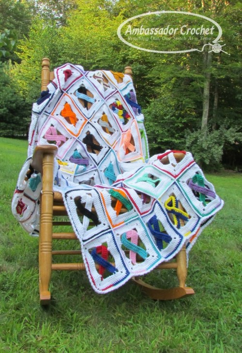 Awareness Ribbon Afghan crochet pattern by Ambassador Crochet.