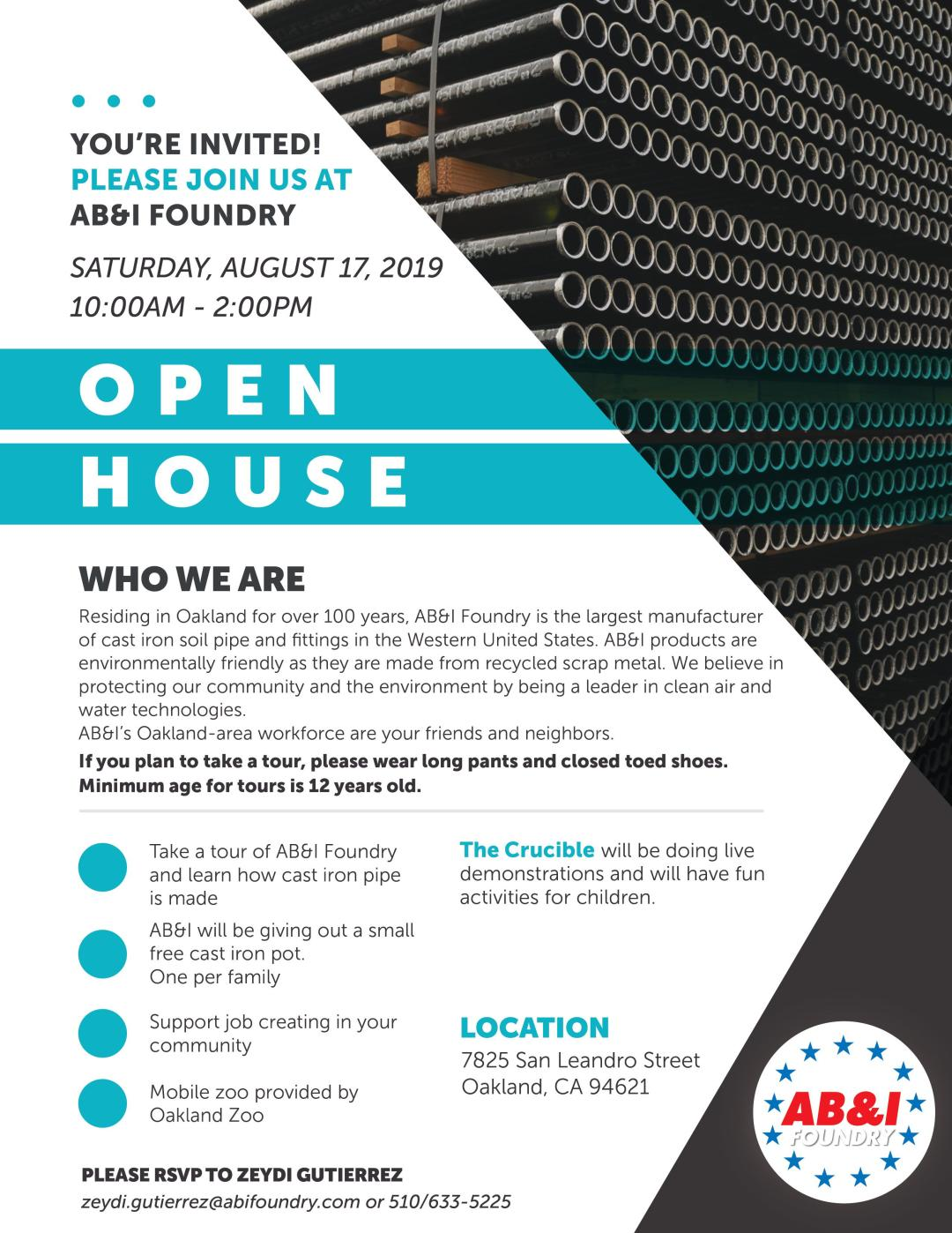 AB&I Foundry Open House Flyer - August 17 2019