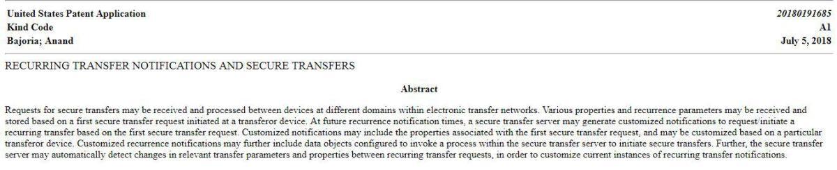 Resumen de la patente presentada por Western Union