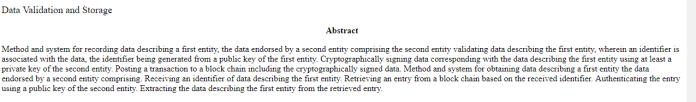 Barclays Data Validation and Storage patent abstract | Source: U.S. Patent and Trademark Office