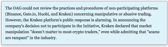 Statement regarding Kraken   Source: NY AG Report