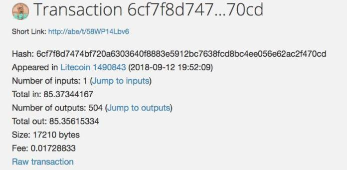 Snapshot of LTC transaction 2 | Source: theliteschool.com