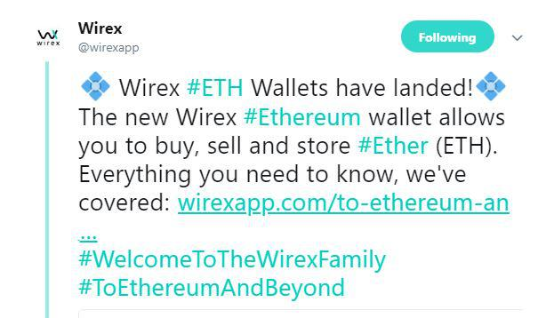 Wirex's tweet on ETH Wallet | Source: Twitter