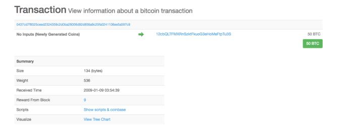 Bitcoin [BTC] transaction posted by Satoshi Nakamoto on Twitter | Source: Blockchain