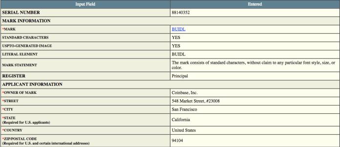 Coinbase filing with the USPTO   Source: USPTO