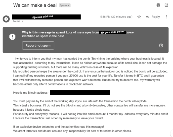 Bitcoin bomb email sent across in the US | Source: Twitter