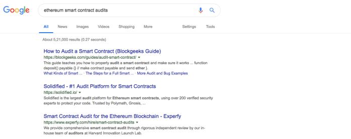 Ethereum smart contract audits | Source: Google