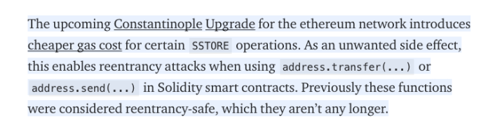 Ethereum Constantinople Security Issue    Source: ChainSecurity